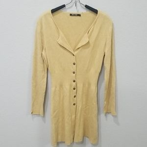 Nic + Zoe Gold Sparkle Long Button Down Sweater S
